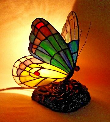 """Whimsical Tiffany Style Colorful """"BUTTERFLY"""" Accent Table Night Light"""
