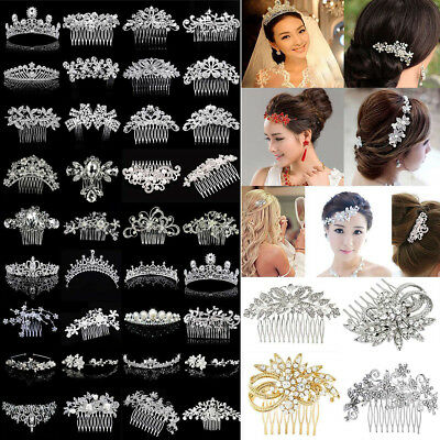 Lot Bridal Wedding Rhinestone Crystal Hair Headband Crown Comb Tiara Pageant HG