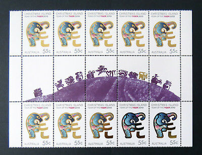 2010 Christmas Island Stamps - Lunar New Year- Year of Tiger - Gutter 10x55c MNH