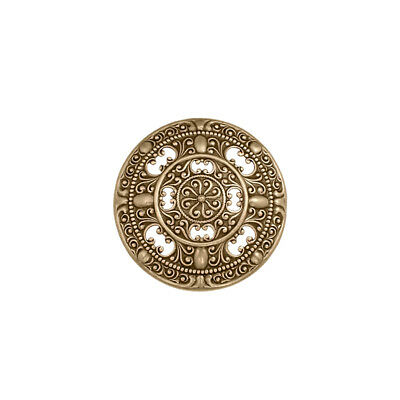 Round Brass Ox Antique Victorian Style Cartouche Domed Filigree Component