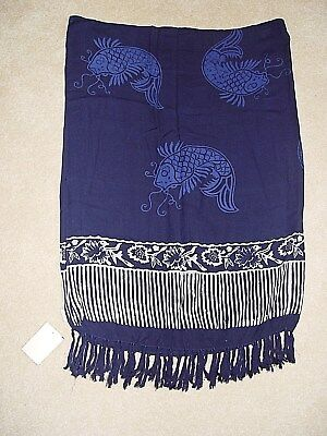 New Womens Bridge To Bali Navy Blue Swimsuit Cover Sarong Wrap Pareo Suit Os