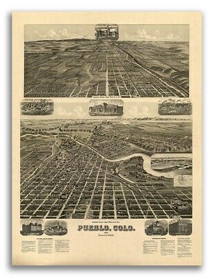 Bird's Eye View 1890 Pueblo Colorado Vintage Style City Map - 24x32