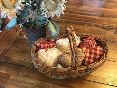 New Homespun Plaid Ornies Bowl Fillers PrImITive Hearts Red Burgundy 6 Valentine