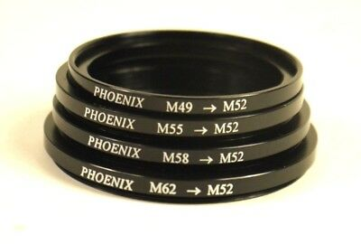 New Phoenix (4) Step Up Down Rings Filter Adapters 52Mm 49-52 55-52 58-52 62-52