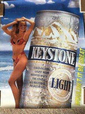 Vintage Key Stone Lite Beer Sexy Woman Poster. 28X22