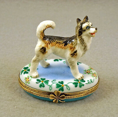 NEW FRENCH LIMOGES TRINKET BOX ALASKAN MALAMUTE HUSKY DOG PUPPY ON clovers