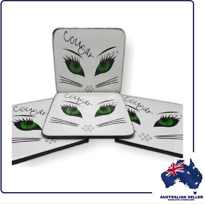 "4 Pack ""COUGAR"" Drinks Coasters - Just The Thing For A Flirtatious Cocktail"