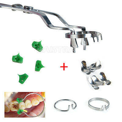 100pcs Dental Sectional Contoured Matrices + Ring + Plier + 40 Add-On Wedges UK