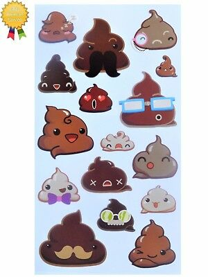 FUNNY FACE FROSTING Stickers Moustache Emoji Poo Sticko Stickopotamus