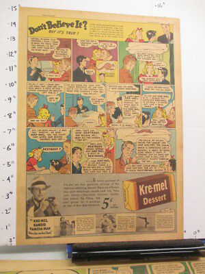 newspaper ad 1937 KRE-MEL dessert pudding Ripley's Believe It comic KANGAROO