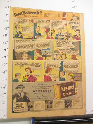 newspaper ad 1937 KRE-MEL dessert pudding Ripley's Believe It comic UNAPPRECIATE
