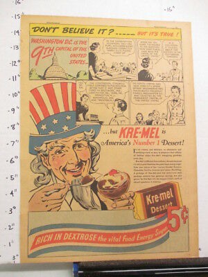 newspaper ad 1937 KRE-MEL dessert pudding Ripley's Believe It Wash DC UNCLE SAM
