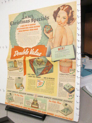 newspaper ad 1937 LUXOR cosmetics Christmas powder perfume full page premium
