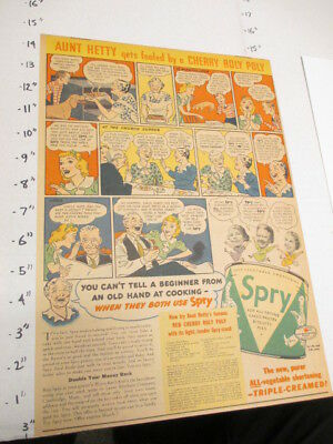 newspaper ad 1937 SPRY vegetable shortening Aunt Hetty NESTLES candy bar comic