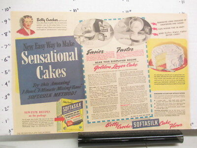 newspaper ad 1940s Betty Crocker SOFTASILK cake mix WWII American Weekly