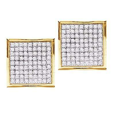 10k Yellow Gold Real Genuine Round Diamond Square Cluster Stud Earrings 1/4 Ct