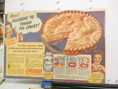 newspaper ad 1940s CRISCO vegetable oil pie crust recipe WWII American Weekly