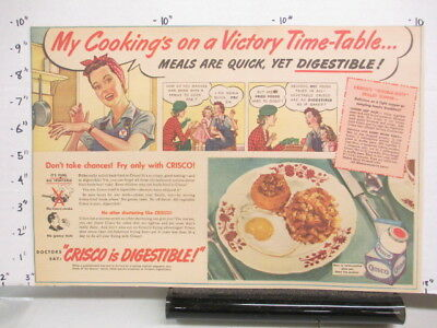 newspaper ad 1940s CRISCO vegetable oil Victory woman WWII American Weekly