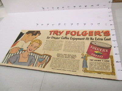 newspaper ad 1940s FOLGER'S coffee can comic married couple SUPER SUDS soap