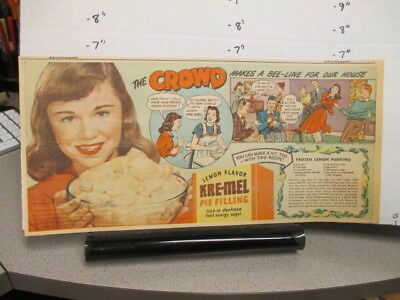 newspaper ad 1940s KRE-MEL lemon pie filling,Al Esper FORD car right pitch