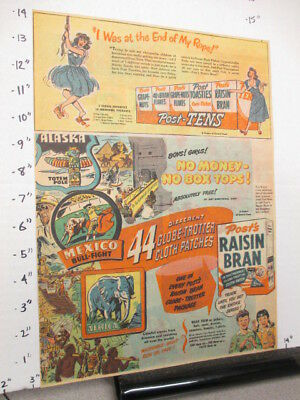 newspaper ad 1940s Post cereal box premium globetrotter patch,FAB laundry soap