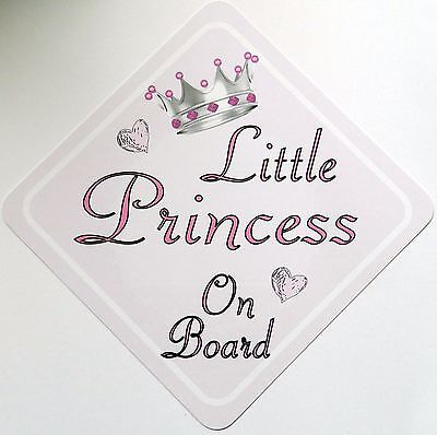 Handmade Non Personalised Little Princess Baby on Board Car Sign ~ Pink