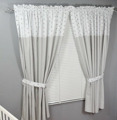 Baby Nursery  Window Curtains /Pencil Pleat / tiebacks/Slot Top
