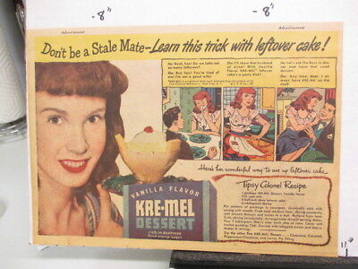 newspaper ad 1947 KRE-MEL vanilla cake dessert LITTLE LULU Kleenex football
