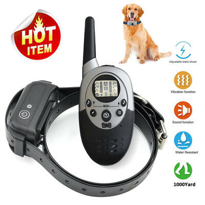 1000 Yard Waterproof IP67 Rechargeable Pet Dog Training Collar Shock With Remote
