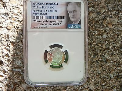 2015 w silver proof Roosevelt dime NGC PF 69 Ultra Cameo