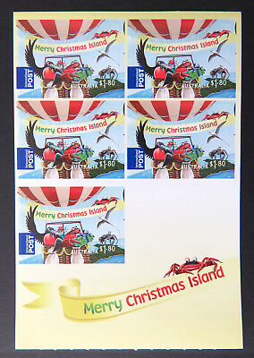 2013 Christmas Island Stamps - Christmas Sheetlet - 5 x $1.80 Int'l Post P&S MNH