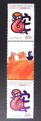 2013 Christmas Island Stamps - Year of the Snake - Gutter Double MNH