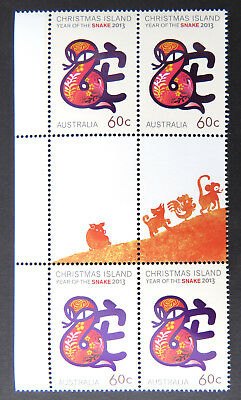 2013 Christmas Island Stamps - Year of the Snake - Gutter Block 4 - Tab MNH