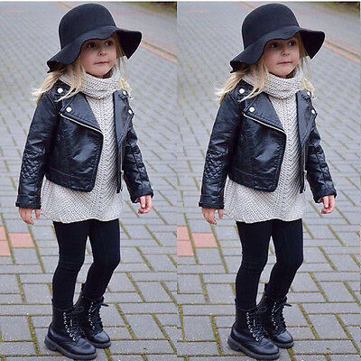 Children Girl's Black Faux Leather Warm Biker Jacket Coat Age 2 3 4 5 6 7 Y