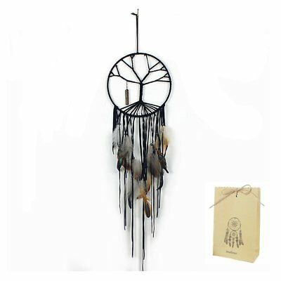 Wall Hanging Tree Of Life Handmade Dream Catcher Beads Feather Ornament Gift Bag