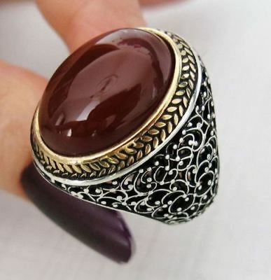 Sterling 925 Silver  Handcraft Jewelry,Elegant Carnelian Gemstone  Men's Ring