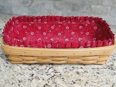 Valentine Red Hearts Fabric Liner Only for Longaberger Bread Basket