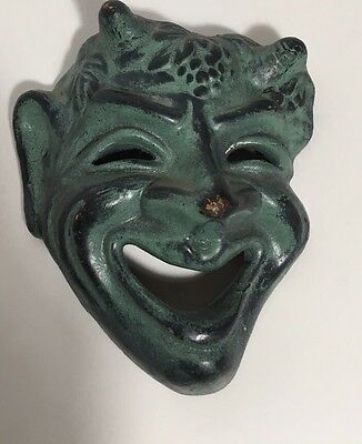 "Vintage 1960's Tragedy Mask Made In Greece Greek Theater Mask Small 4""x4"""