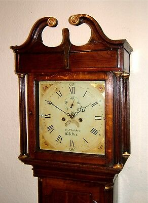 Georgian Oak Longcase Grandfather Clock C1800 by Fletcher of Chester
