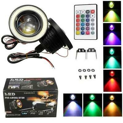 """Colour Change 3.5"""" LED COB Car Halo Angel Eyes DRL Fog Light Lamps with Remote"""