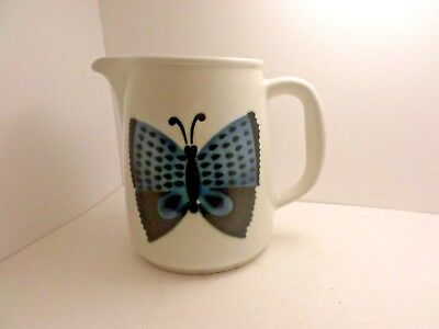 "Finland Arabia blue butterfly Large Pitcher 7"" Kaj Franck Vintage Modernist MOD"