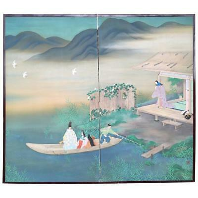 "Japanese Fine ""Boating & Birds on Mountain Blue Lake"" Two Panel Screen Byobu"