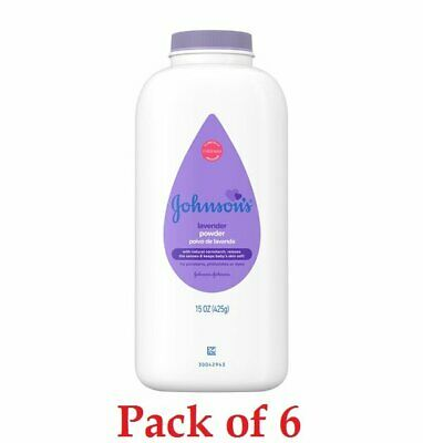 Johnson's Baby Powder, Calming Lavender For Irritated Skin, 15 Oz (PACK OF 6)
