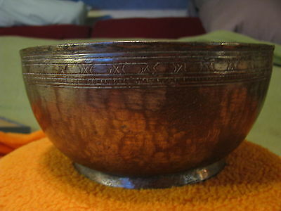 Islamic/persian Hammered Copper/bronze Ceremonial Bowl, Antique, Rare