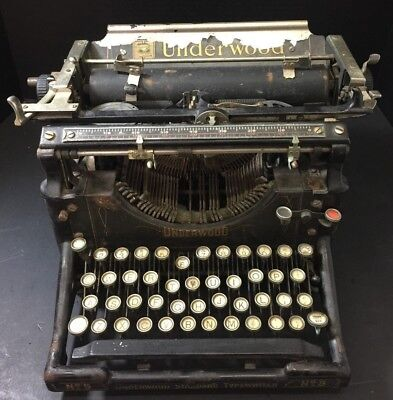 Antique Underwood No. 5 Standard Typewriter Poor Condition For Parts Only