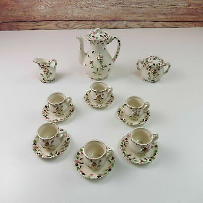 Antique Japanese Teapot Gold Rose Hand Painted 17 Pc Tea Set Made in Japan