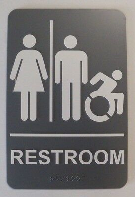 Unisex Handicapped Restroom Sign with Braille - Gray - 6X9