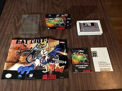 Earthworm Jim 1 (Super Nintendo, SNES LOT) Complete with Poster - Tested
