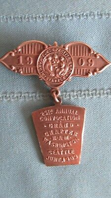 1909 Alaska Yukon & Pacific Expo Copper Souvenir Badge-Seattle-R.A.M. Chapter