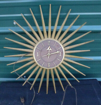 "Vintage Starburst Electric Wall Clock sun plastic spoke tine 21"" sunburst"
